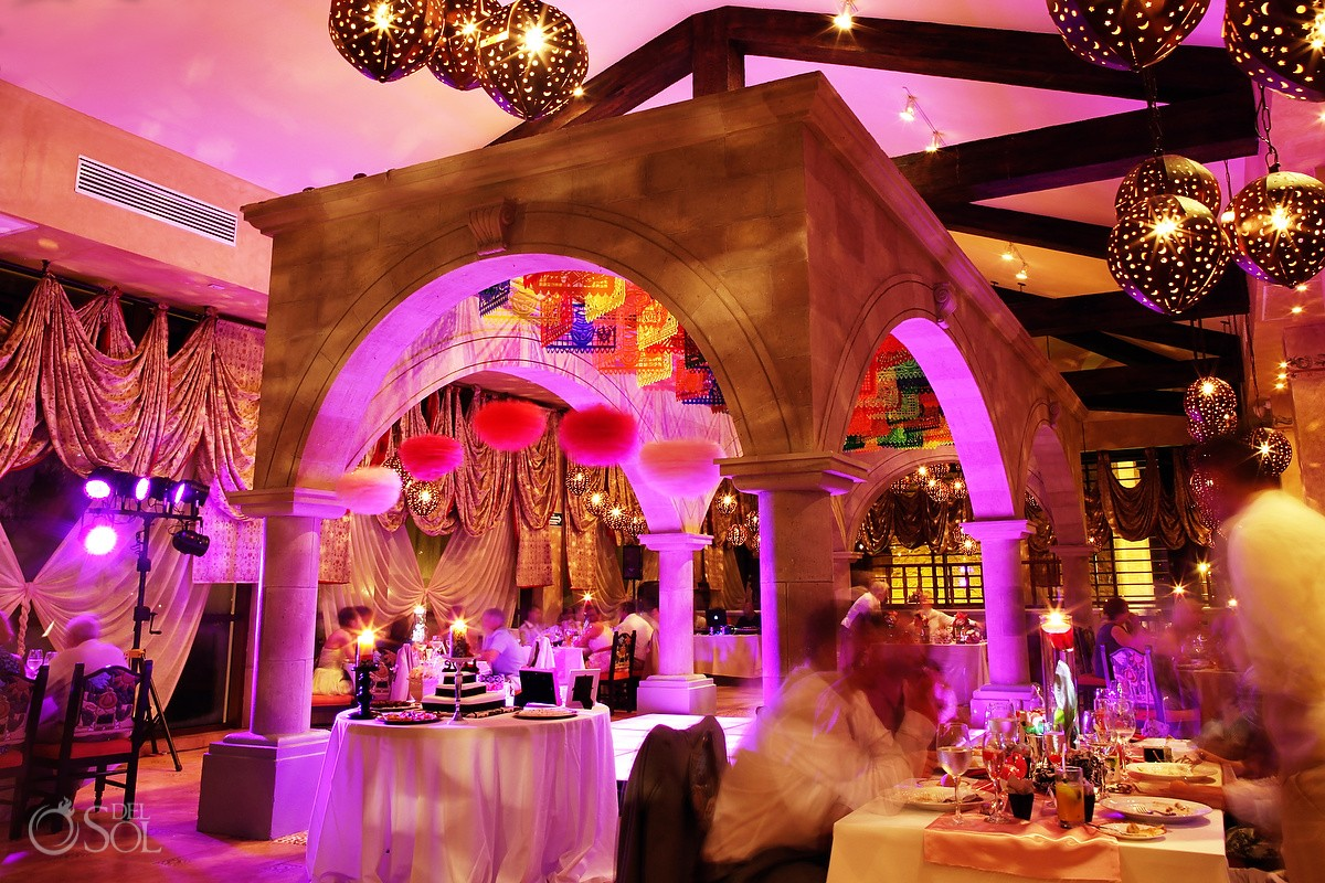 Mexican Themed colors wedding reception at Dreams Riviera Cancun
