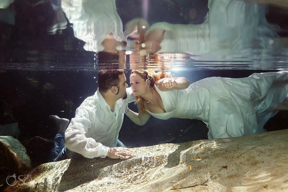 Riviera Maya underwater trash the dress cenote Mexico Del Sol Photography