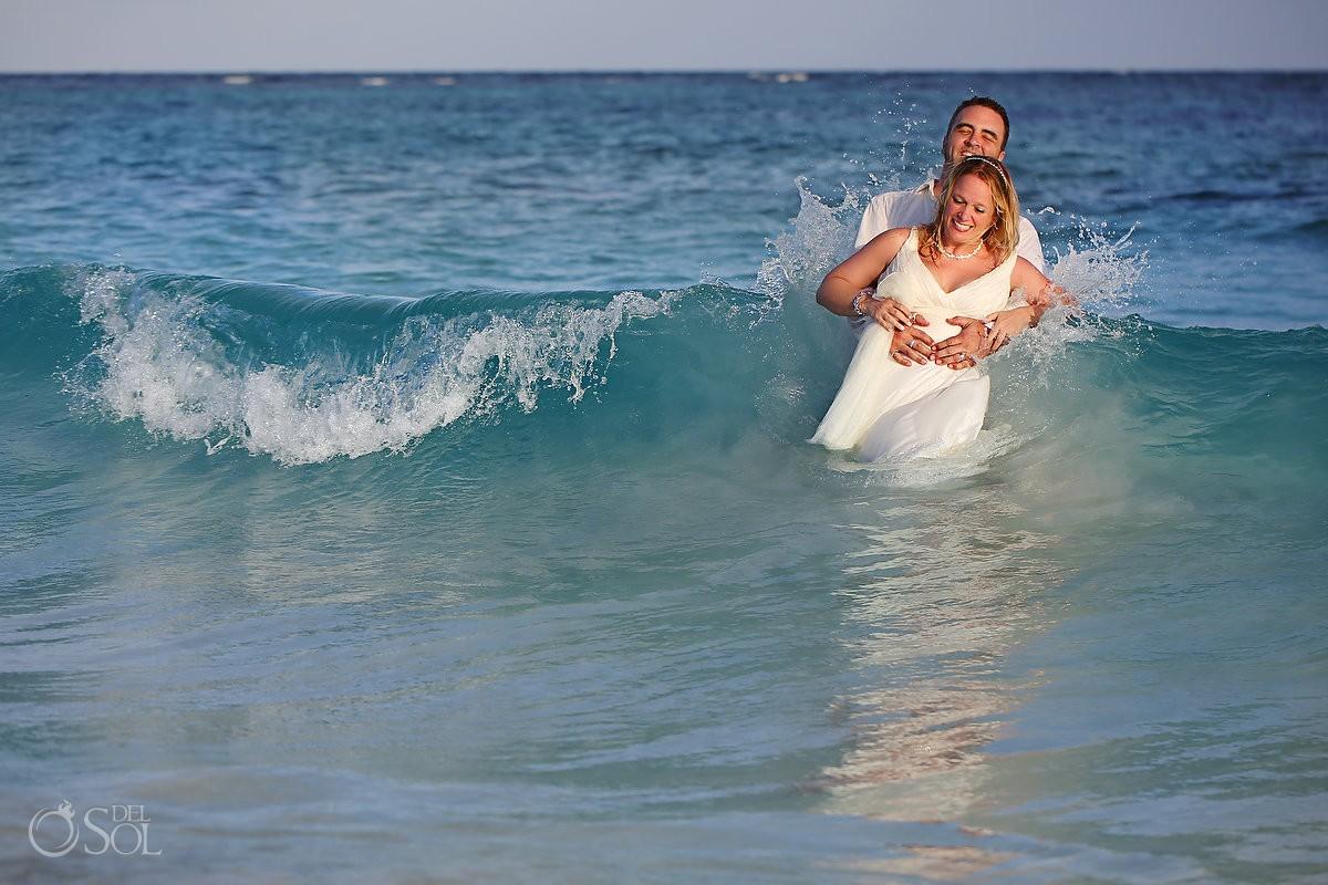Riviera Maya beach trash the dress Mexico Del Sol Photography