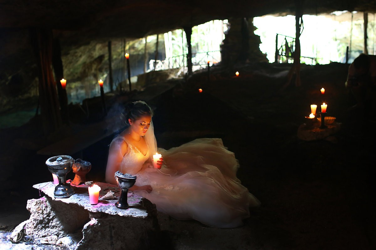 Riviera Maya trash the dress cenote cave Mexico Del Sol Photography