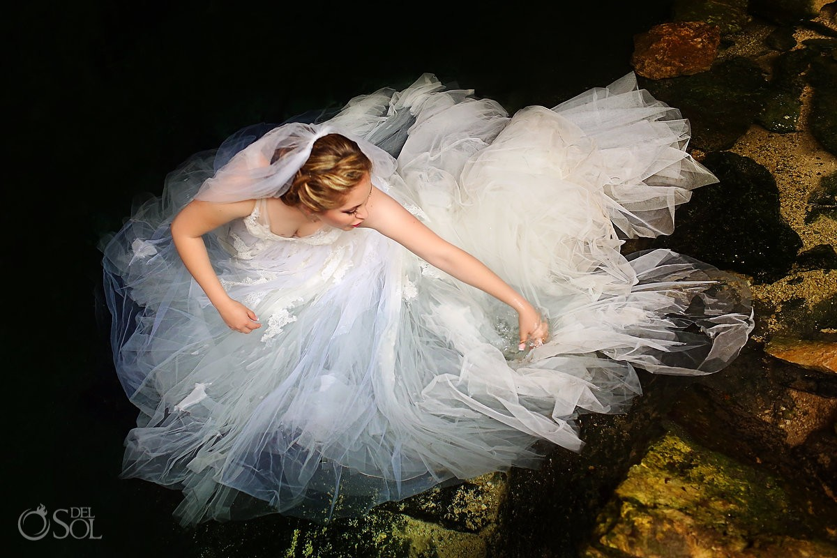 Riviera Maya cenote trash the dress Mexico Del Sol Photography