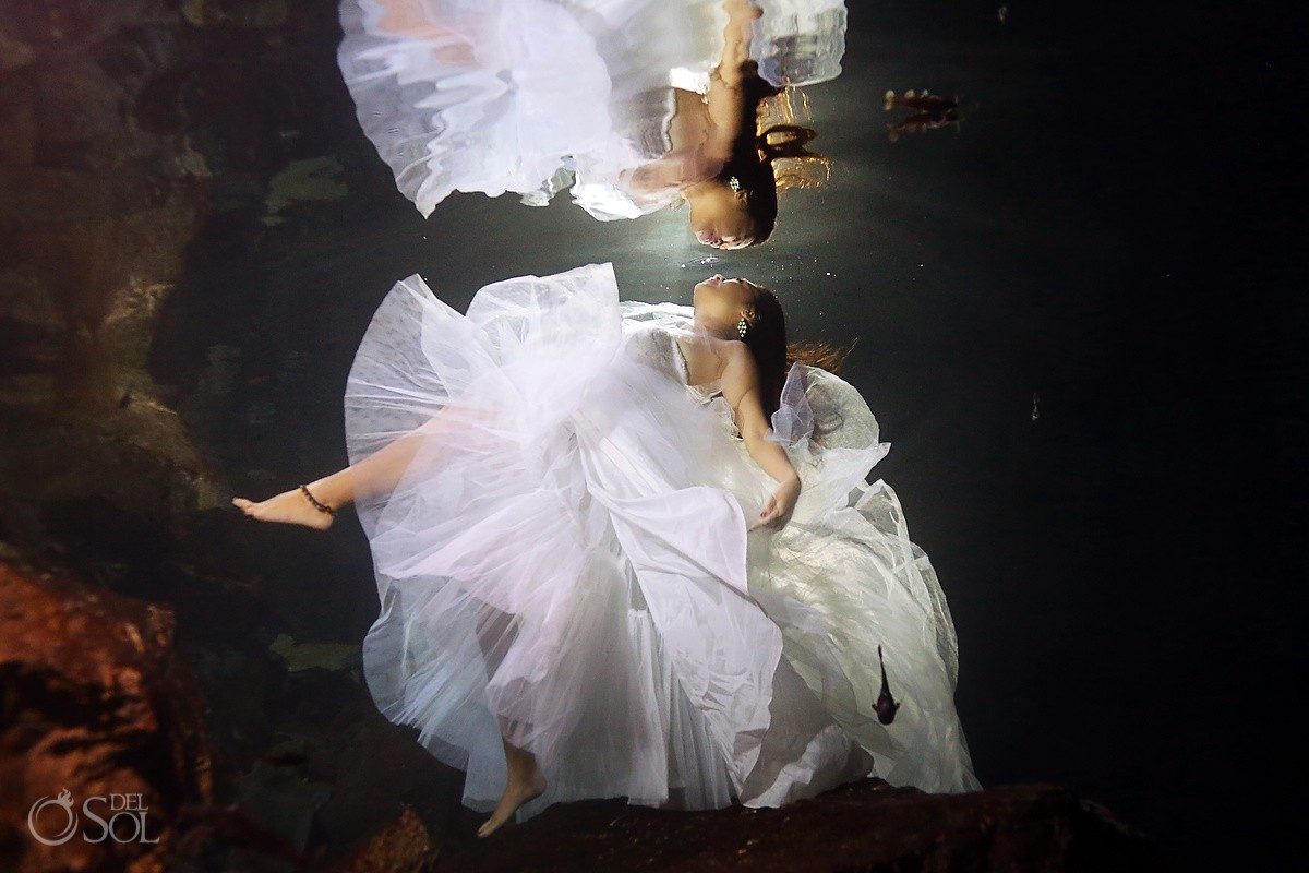 Riviera Maya trash the dress cenote underwater Mexico Del Sol Photography