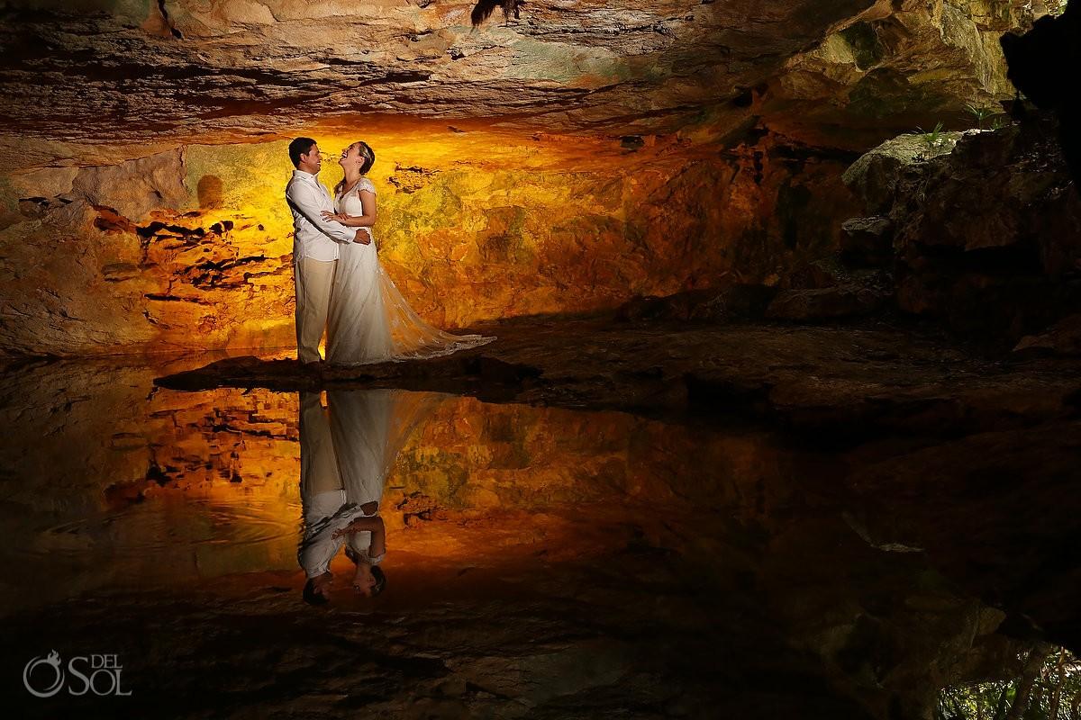 Riviera Maya trash the dress cenote cave