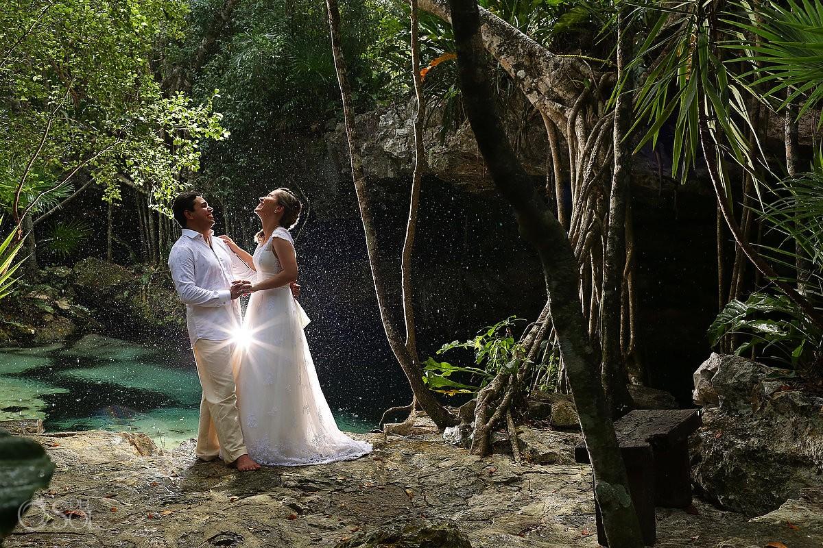 Riviera Maya trash the dress jungle bride groom