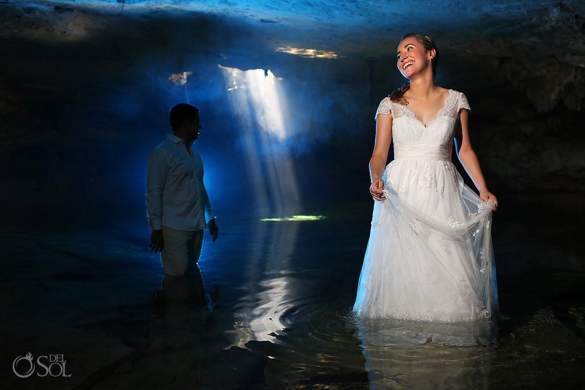 Riviera Maya trash the dress cenote bride