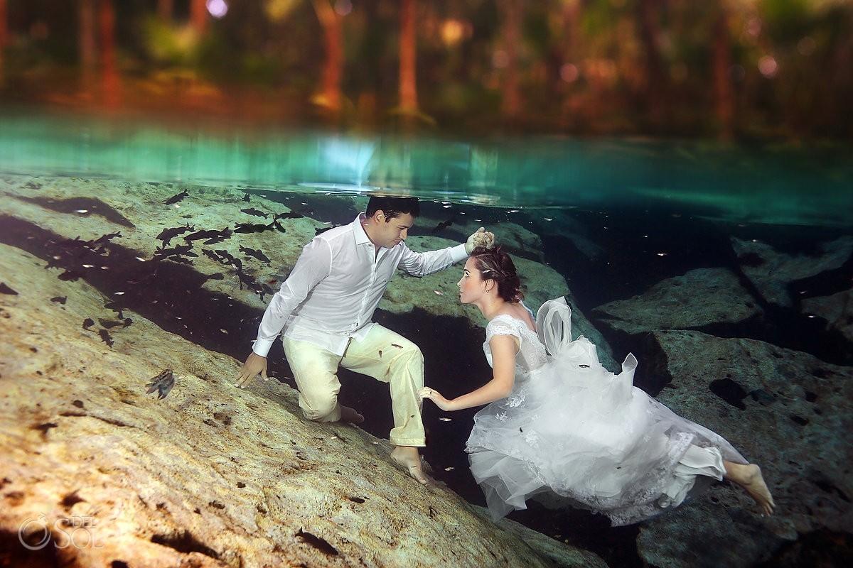 Riviera Maya underwater trash the dress cenote