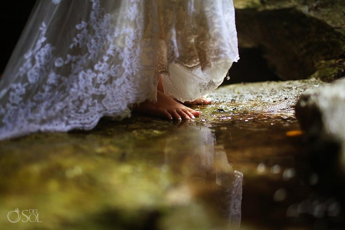 Riviera Maya trash the dress cenote