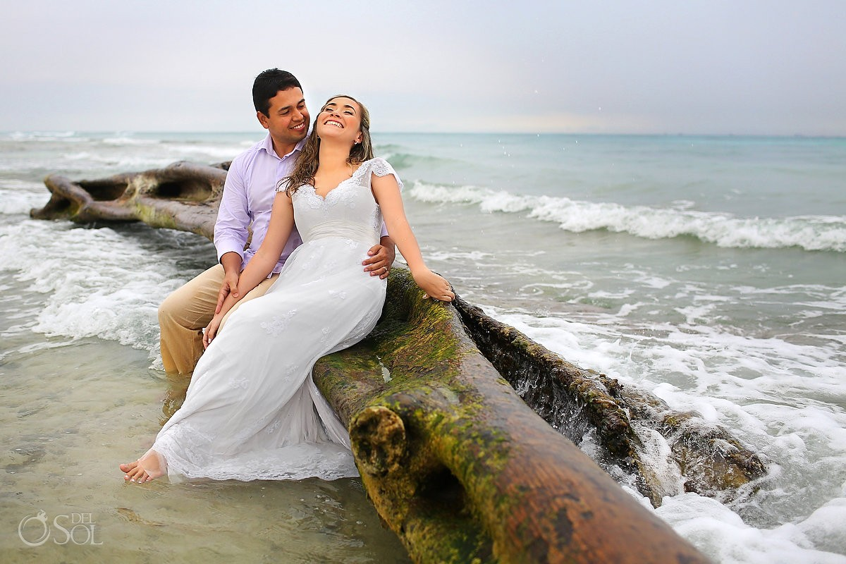 Riviera Maya beach trash the dress