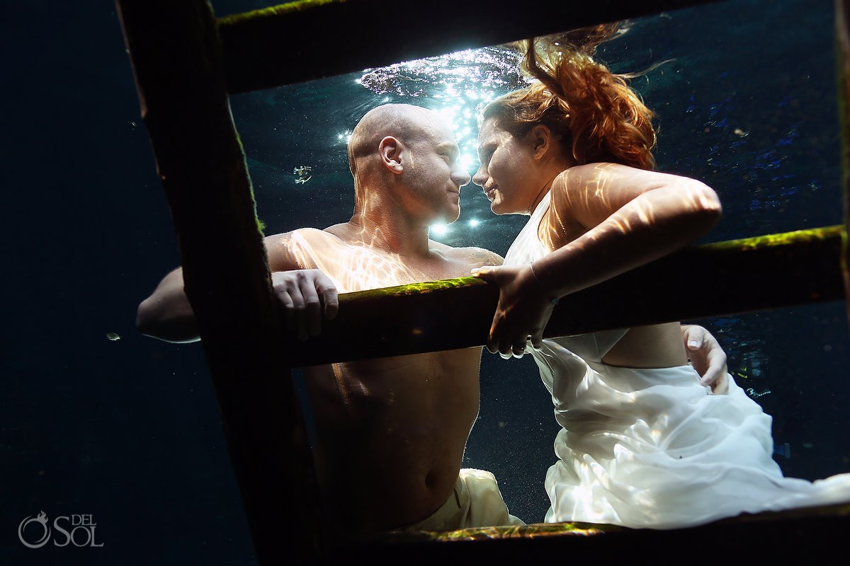 Riviera Maya underwater cenote trash the dress Mexico Del Sol Photography