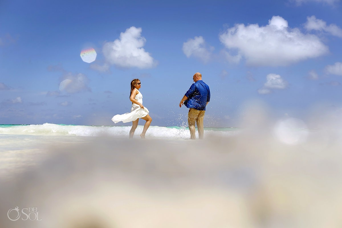 Riviera Maya beach trash the dress Mexico Del Sol Photography