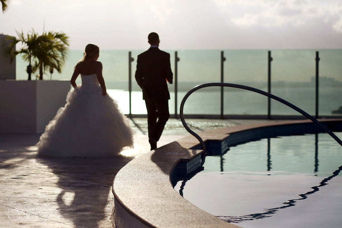 destination wedding photo of bride with mori lee gown at beach palace