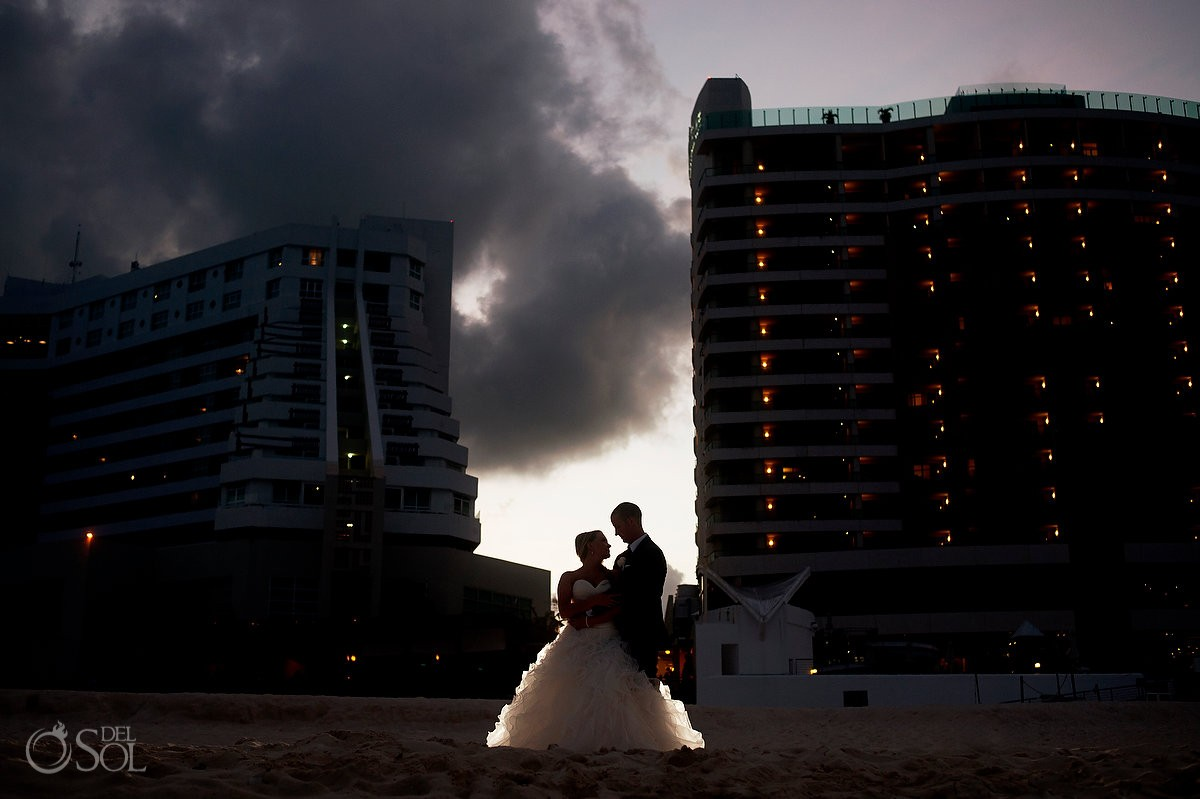 destination wedding photo of bride and groom at beach palace cauncun
