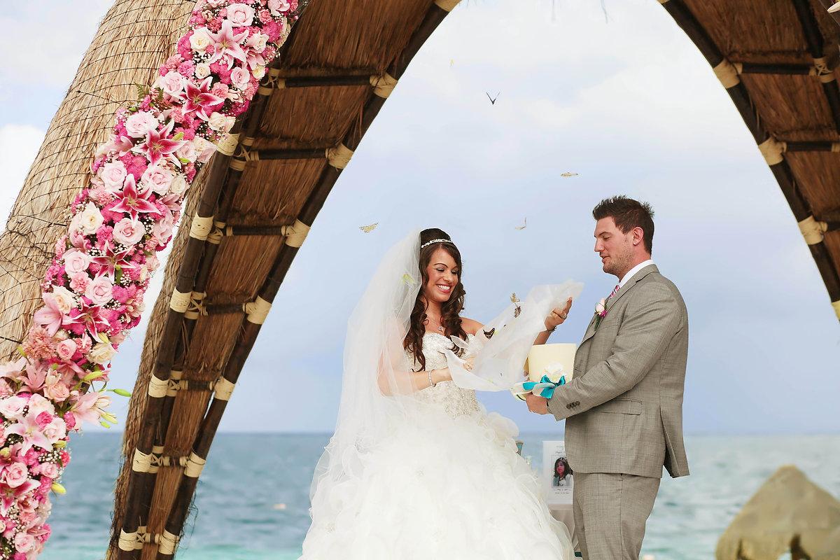 Destination wedding at Dreams Riviera Cancun gazebo