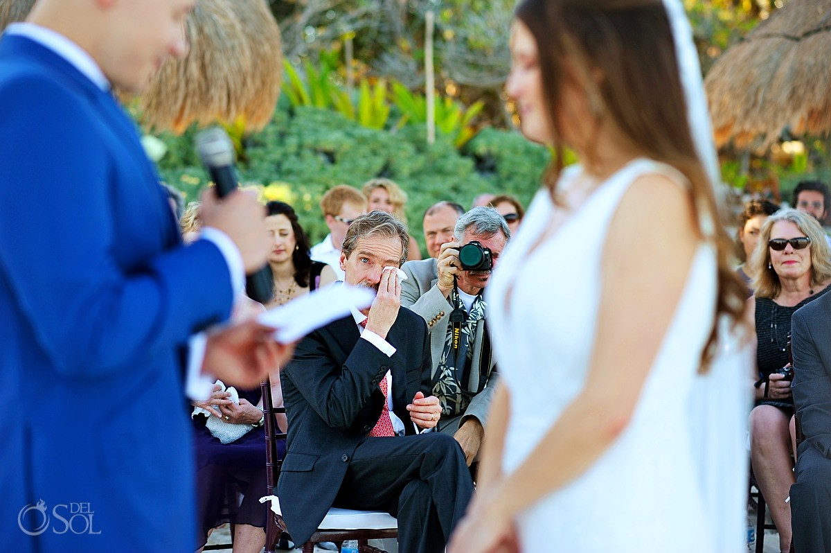 father crying during destination wedding at La zebra tulum Mexico