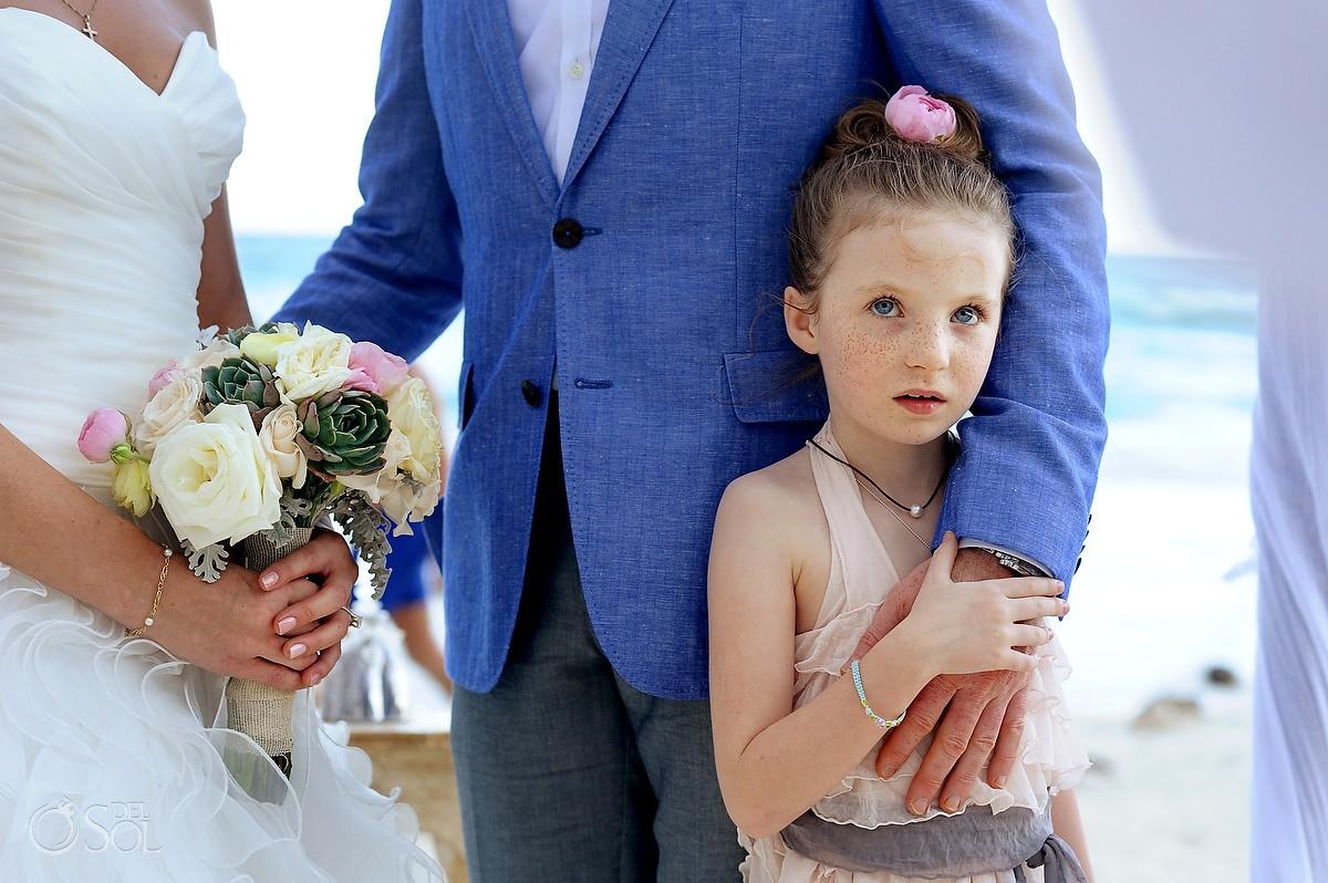 Daughter is with parents at the alter for a destination Wedding at Hotel Nueva Vida de Ramiro, Tulum