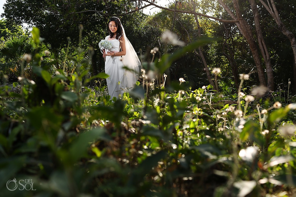 Riviera Maya trash the dress in Playa del Carmen beach jungle Mexico Del Sol Photography