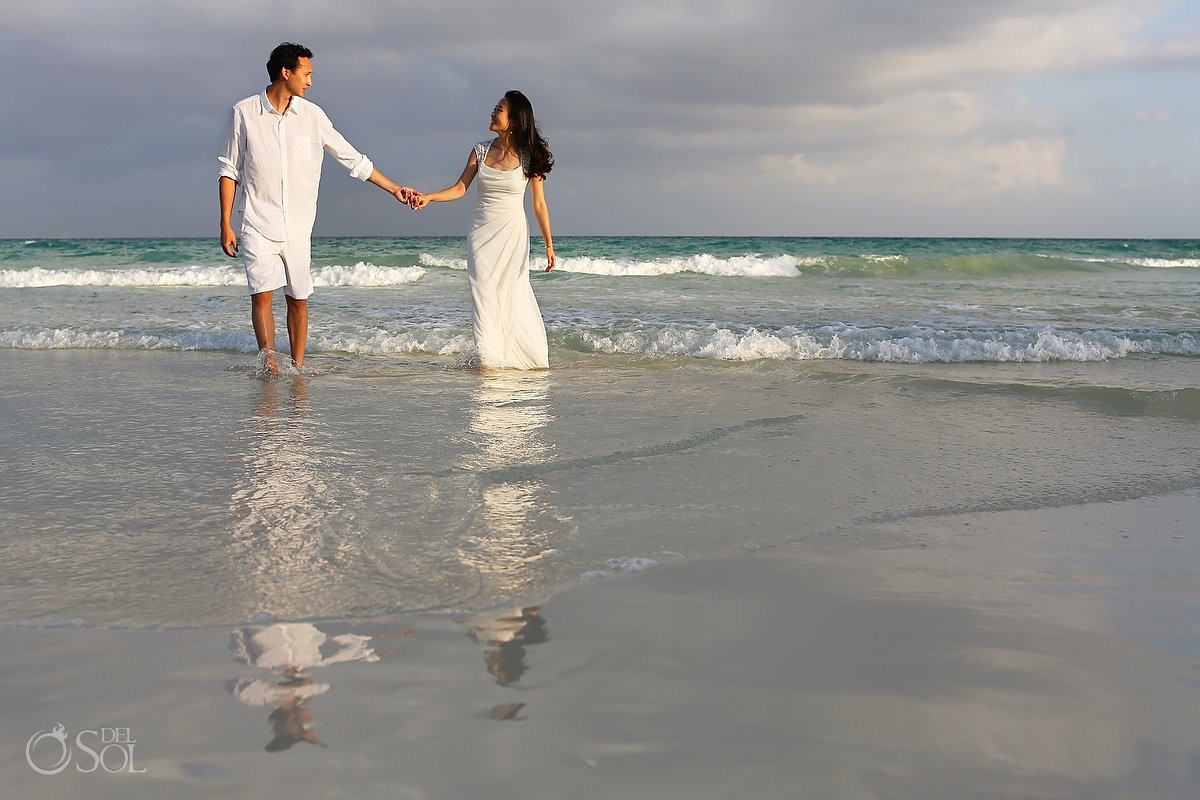 Riviera Maya Playa del Carmen beach trash the dress Mexico Del Sol Photography