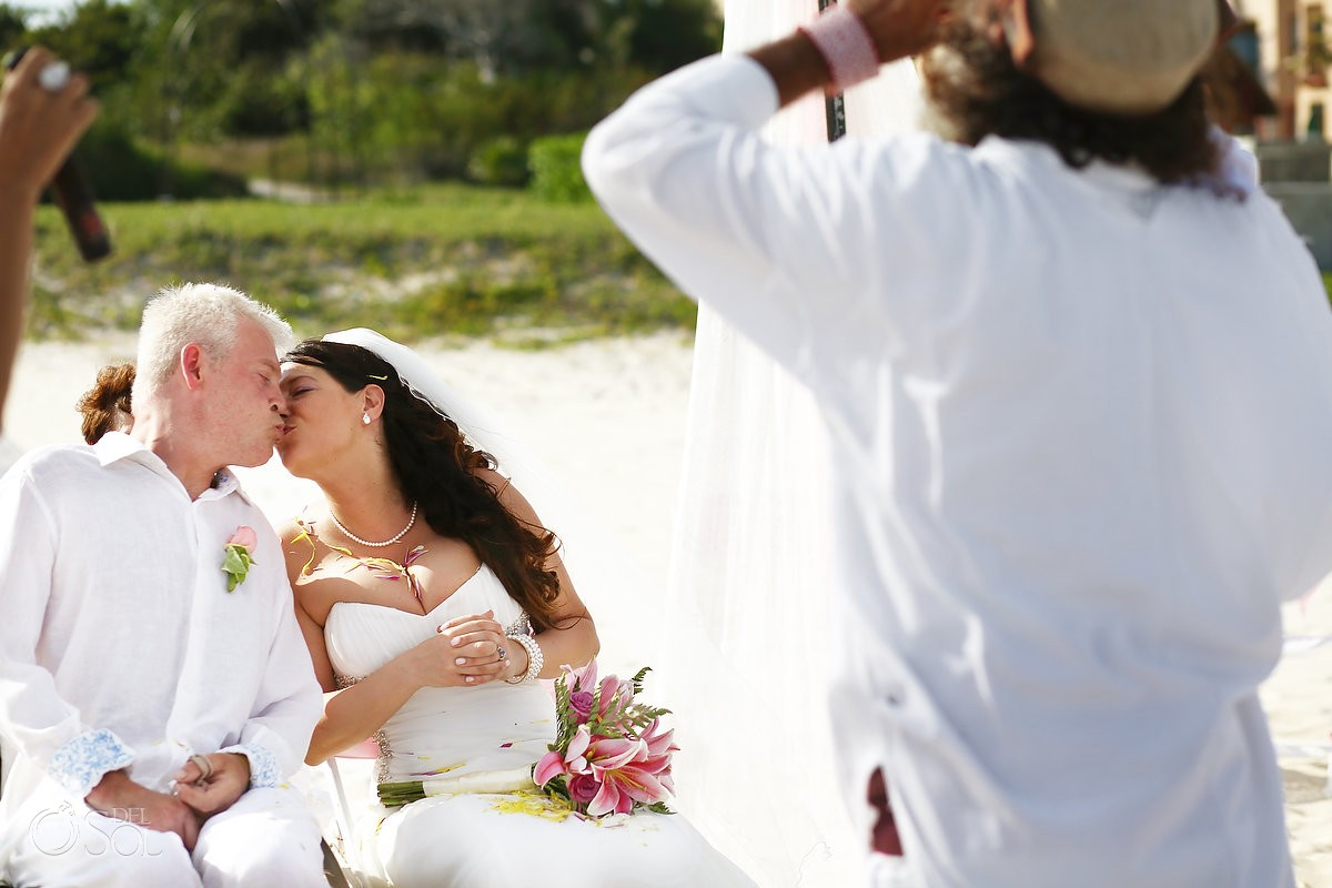 Cosmic beach wedding Sandos Playacar Playa del Carmen Mexico Del Sol Photography