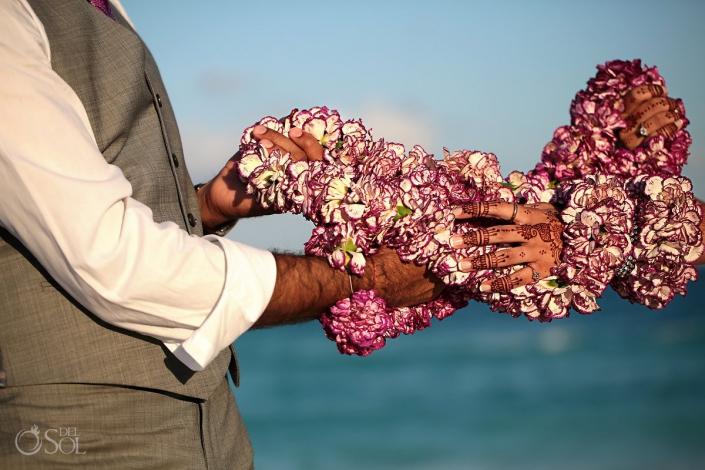 mehndi hands flower garland artistic wedding portrait photography Sandos Cancun