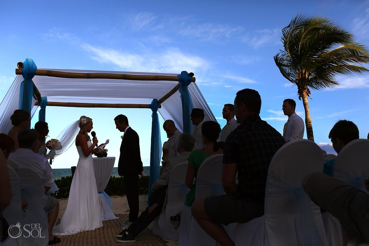 ceremony on the beach Wedding Blue Bay Grand Esmeralda