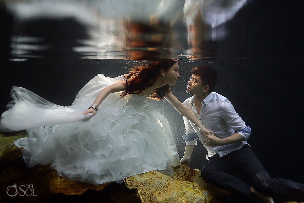 Riviera Maya trash the dress underwater cenote Del Sol Photography Mexico