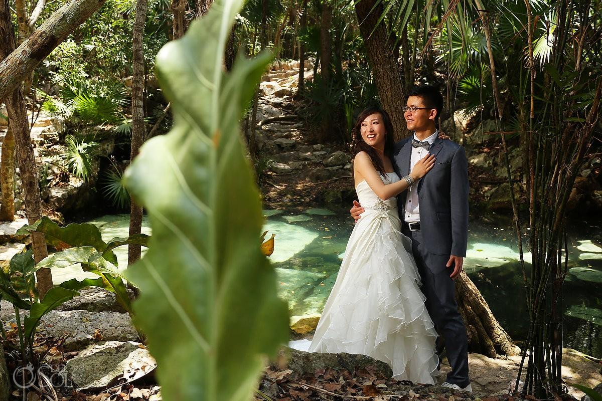 Underwater cenote trash the dress Riviera Maya Mexico Del Sol Photography