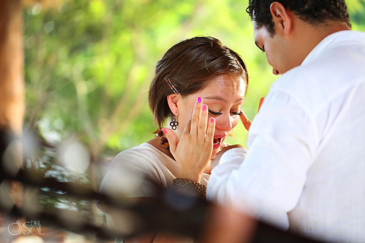 Bride to be is surprised by a secret marriage proposal cancun mexico