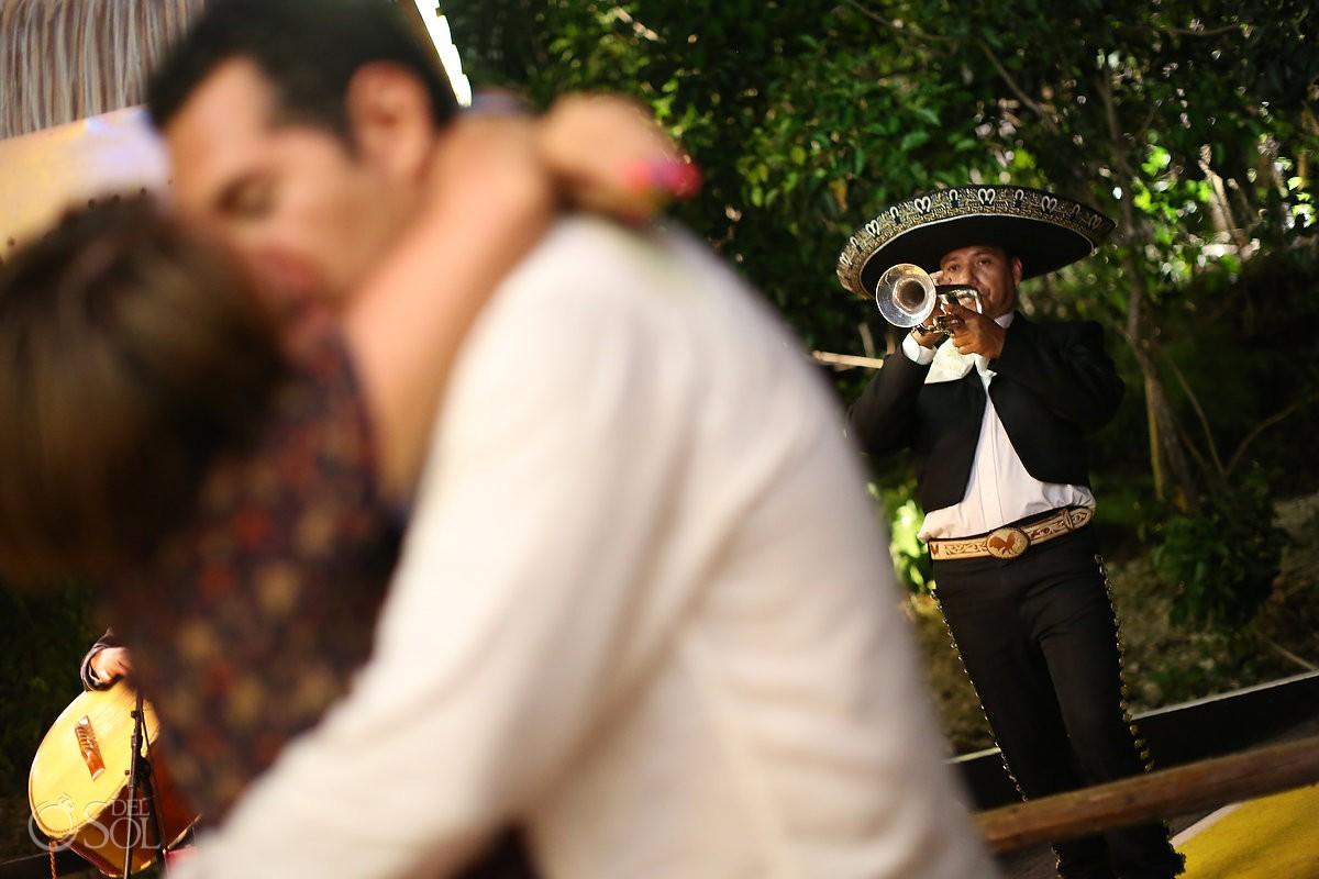 mariachi serenading a bride and groom at dreams tulum