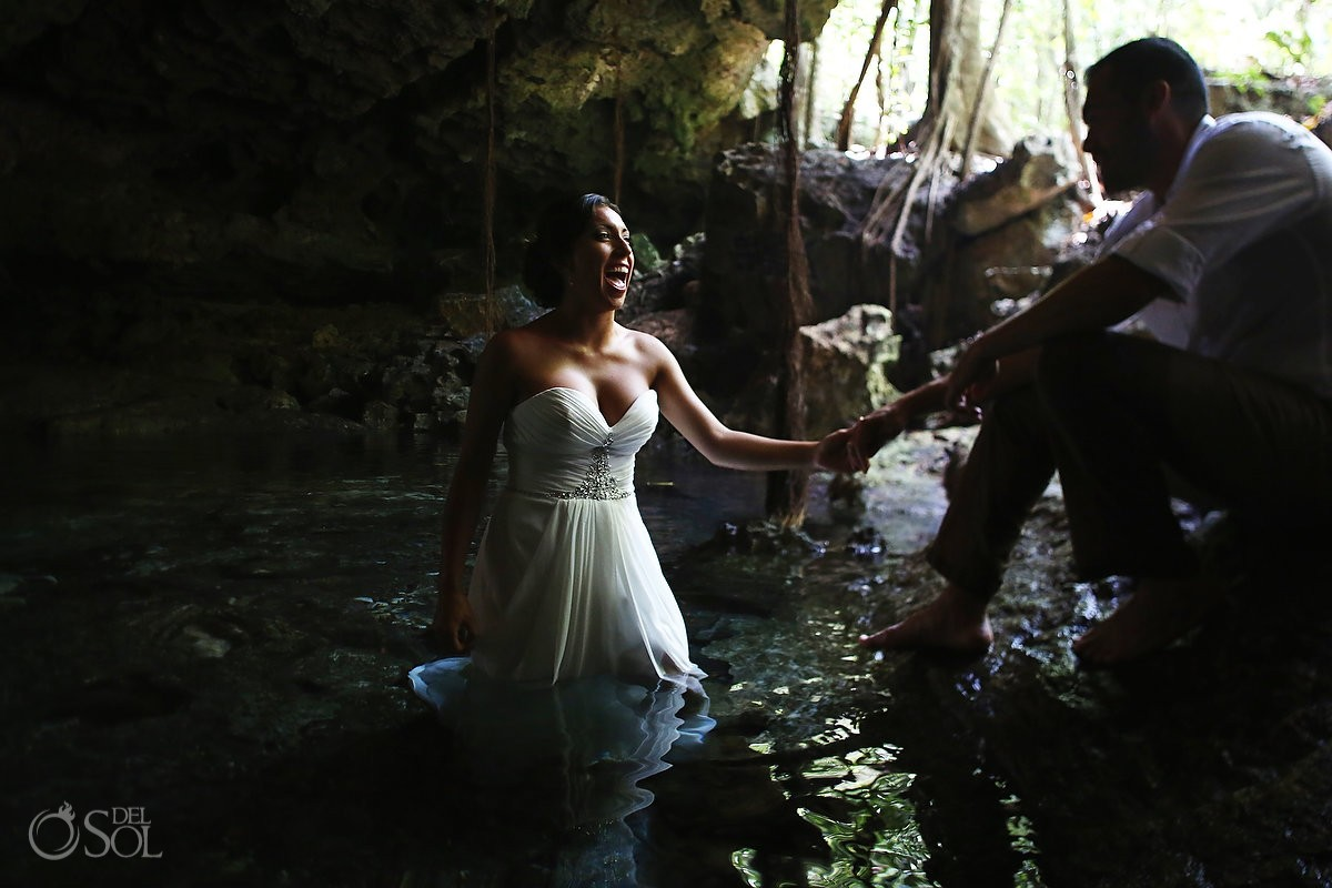 Riviera Maya cenote underwater trash the dress Del Sol Photography Mexico