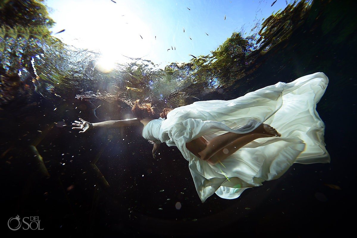 Trash the dress underwater cenote Riviera Maya Mexico Del Sol Photography