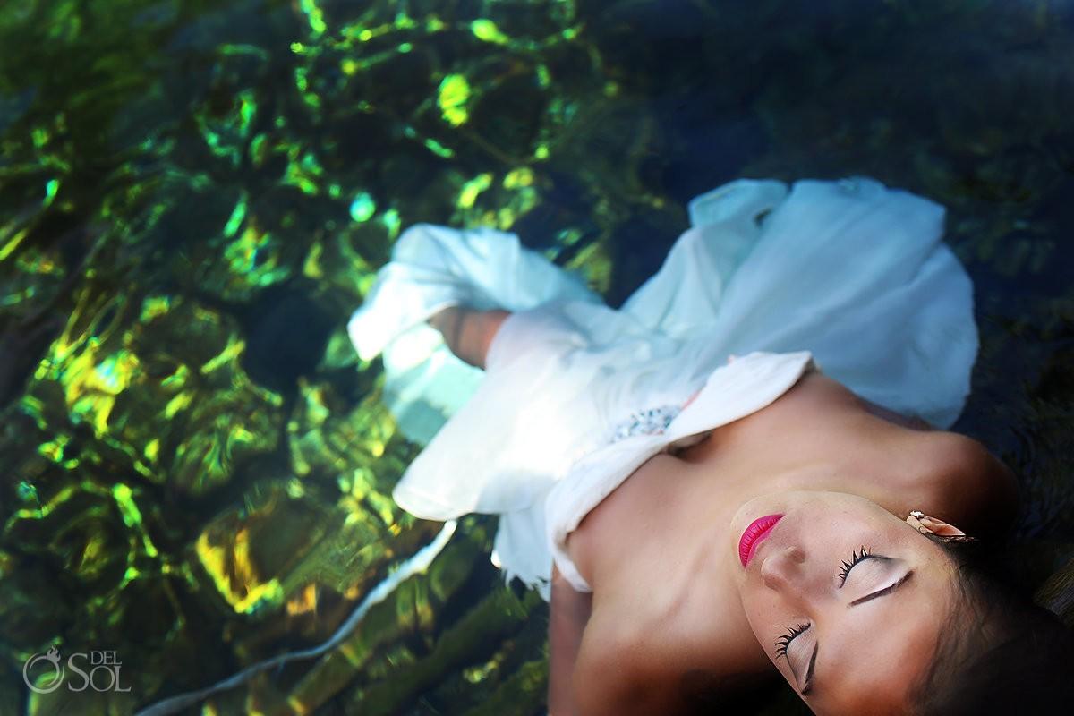 Underwater trash the dress cenote Riviera Maya Mexico Del Sol Photography