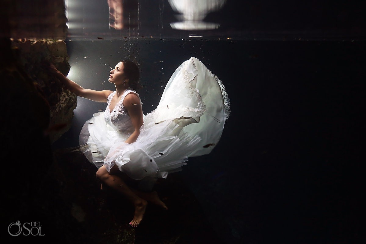 Underwater trash the dress bride cenote Riviera Maya Mexico Del Sol Photography