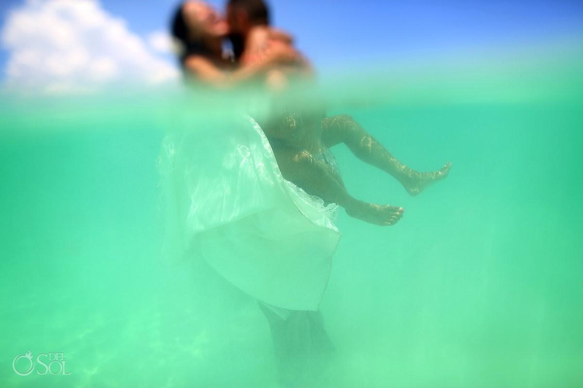 Ocean trash the dress underwater Riviera Maya Mexico Del Sol Photography