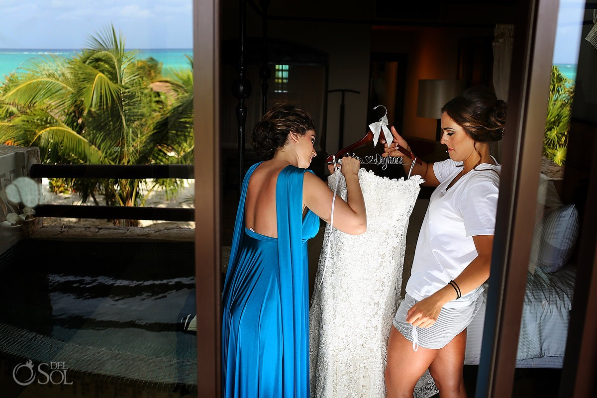 Pnina Tornai wedding gown at secrets maroma resort