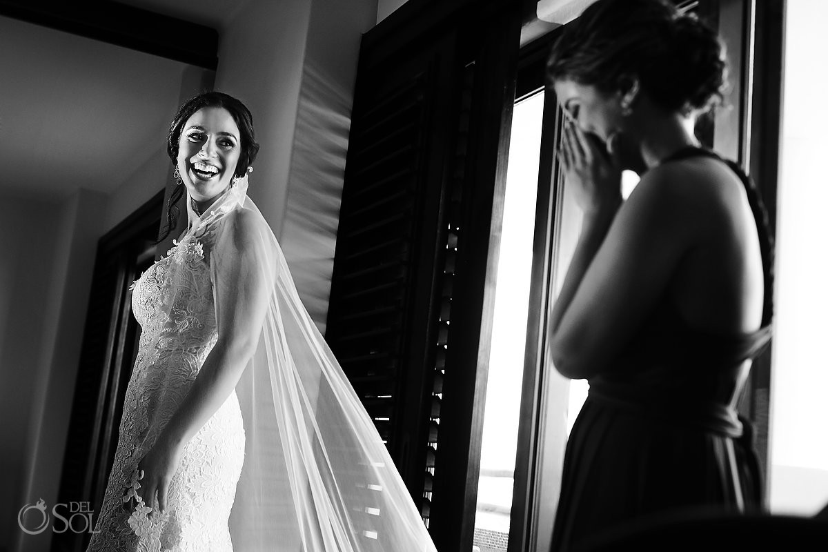 bride in Pnina Tornai gown Wedding at Secrets Maroma