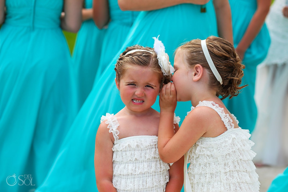Cute Flower girls whispering secrets Huffington Post Wedding