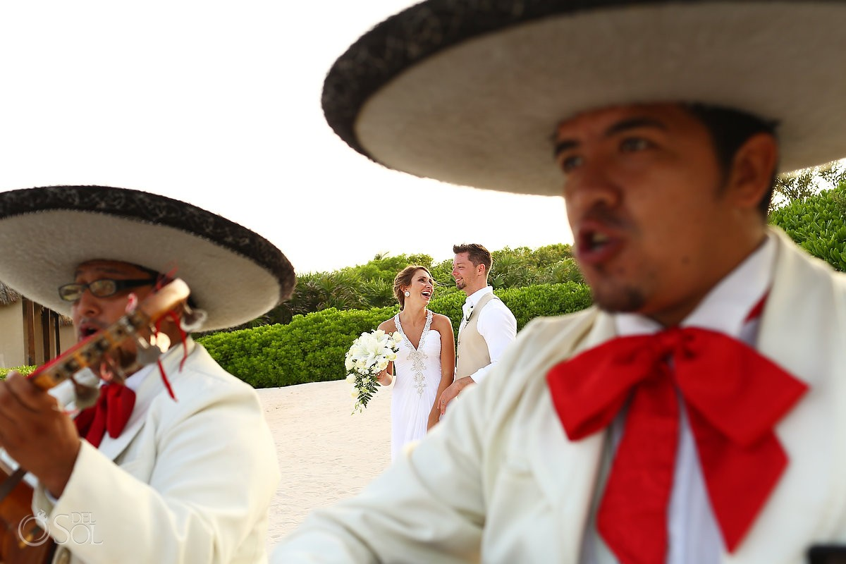 bride and groom with mariachi's at dreams tulum hotel
