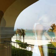 bridal reflection in the riviera maya caribbean ocean at dreams tulum hotel
