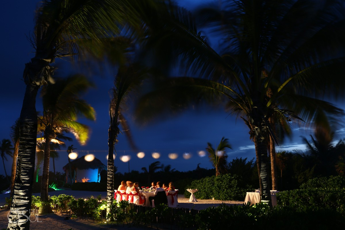 outside dinner wedding reception location at dreams tulum hotel