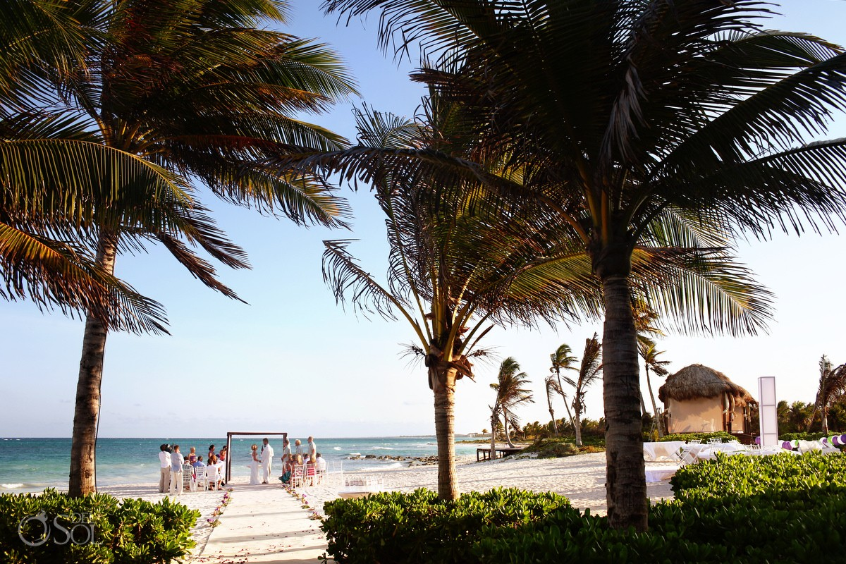 beach wedding ceremony dreams tulum destination wedding
