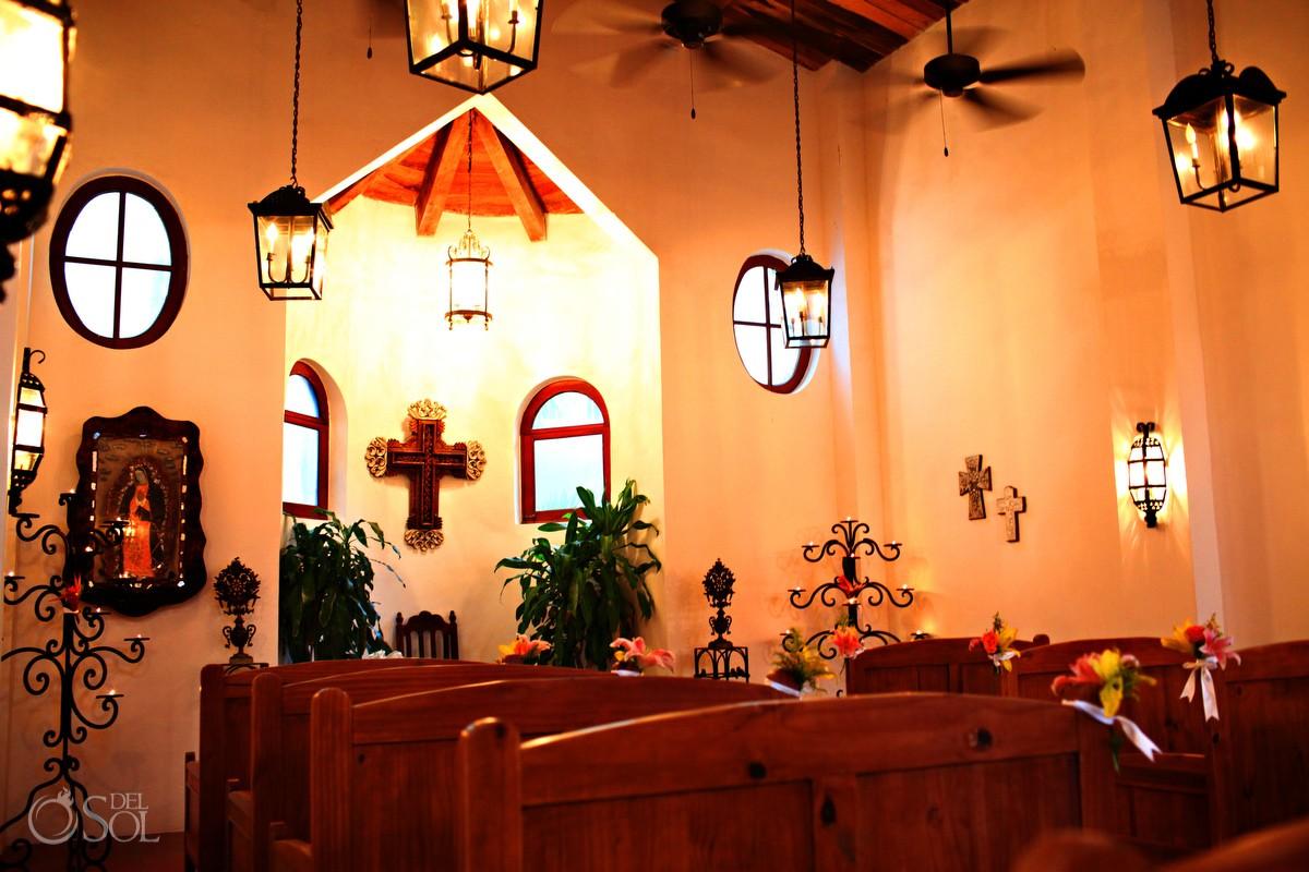 interior of dreams tulum destination wedding chapel in riviera maya mexico