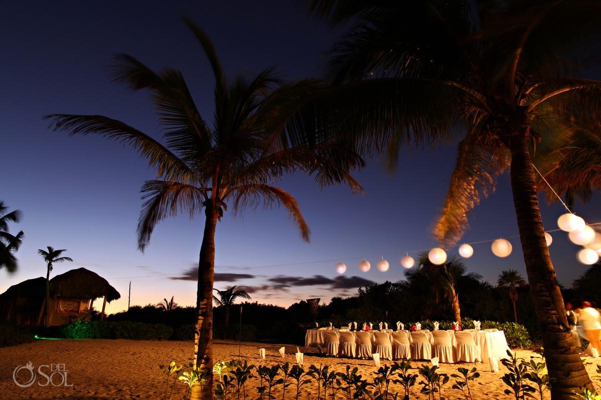dreams tulum beach destination wedding reception setup at night