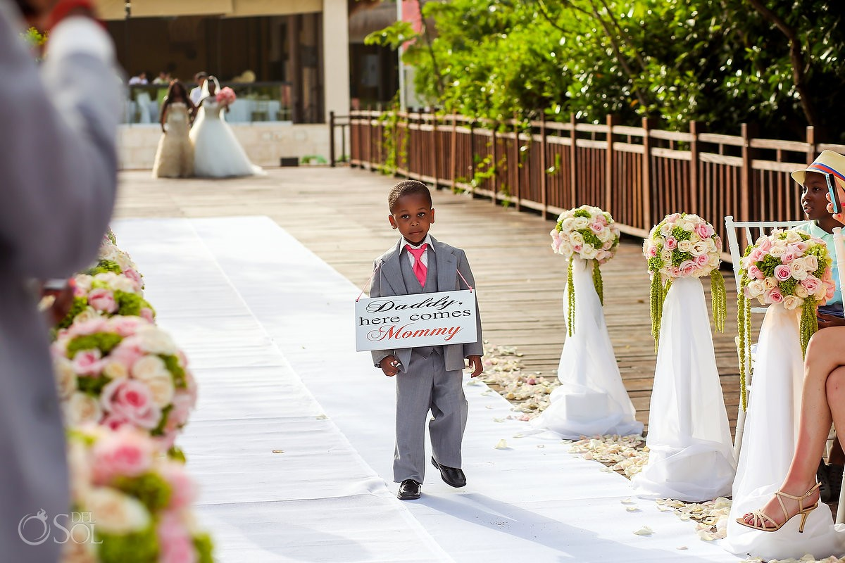 include your children in your wedding ceremony as cute ring bearers with signs