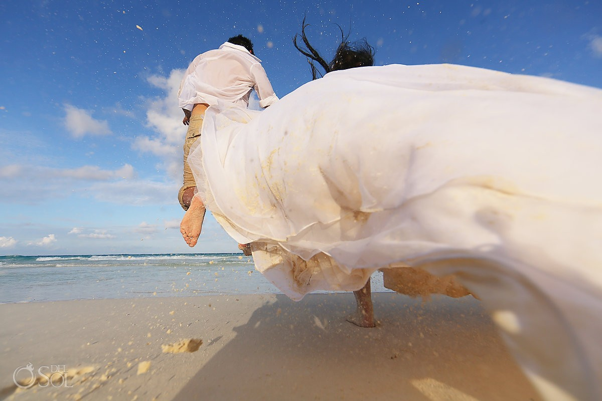 Beach trash the dress Live Aqua Cancun Mexico Del Sol Photography