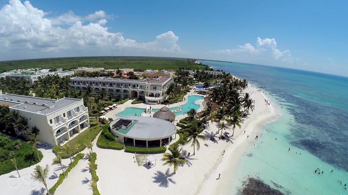 Aerial Drone photo of Dreams Tulum Hotel in Riviera Maya Mexico with Caribbean ocean views
