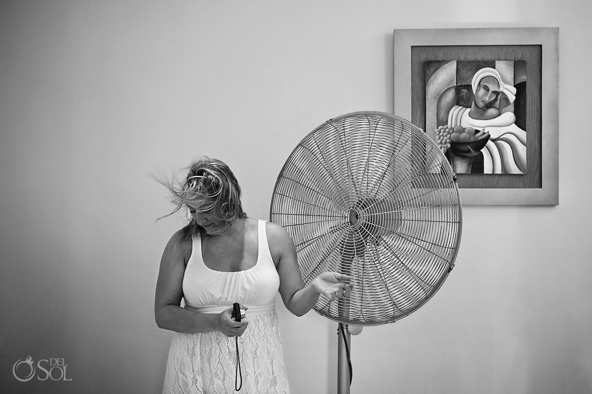 Hot Bride with fan blowing her hair