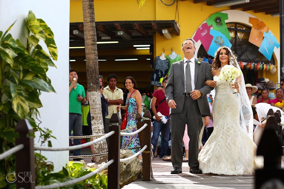Bride and father laugh before they walk the aisle Wedding at Capilla de Nuestra Señora del Carmen
