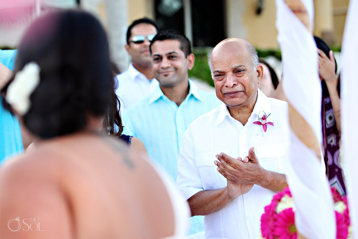 Father of the bride cries during a hindu destination wedding in mexico