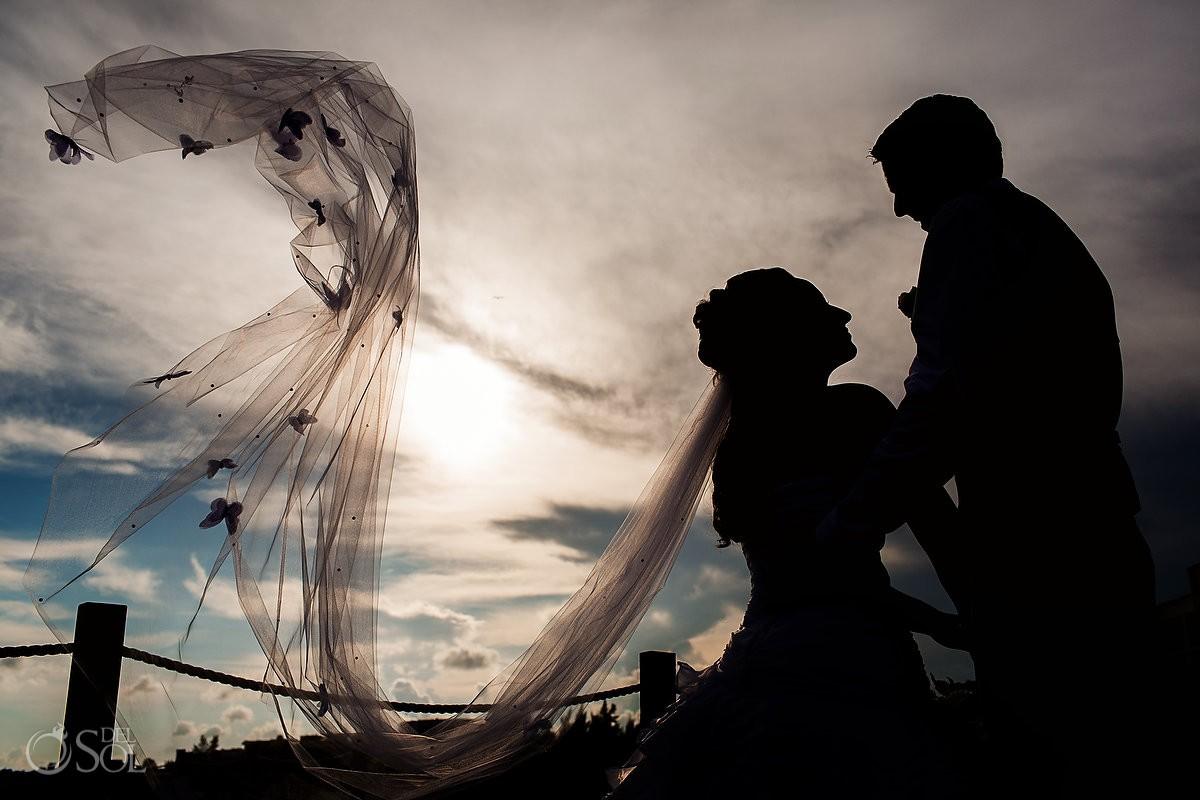 Secrets Silversands riviera cancun wedding creative black and white portrait