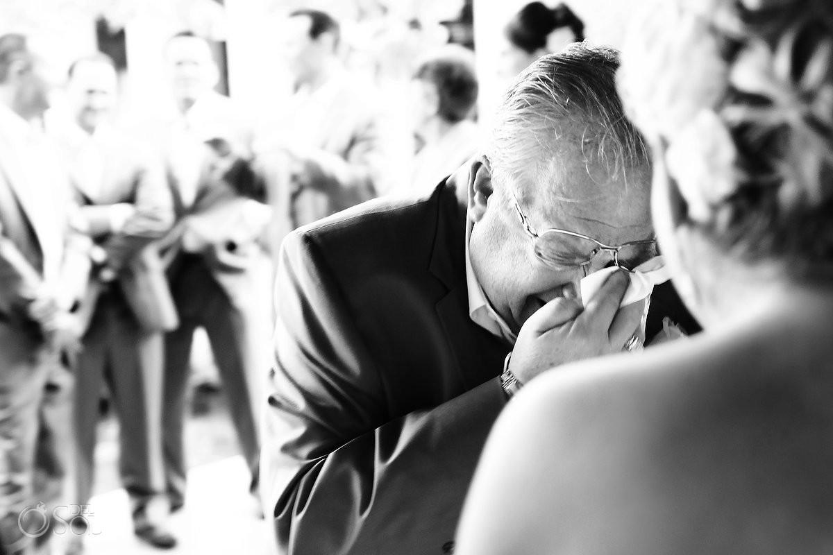 father crying at beach destination wedding at Paradisus hotel playa del carmen